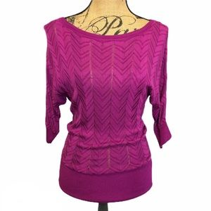 White House Black Market Magenta Burnout Blouse